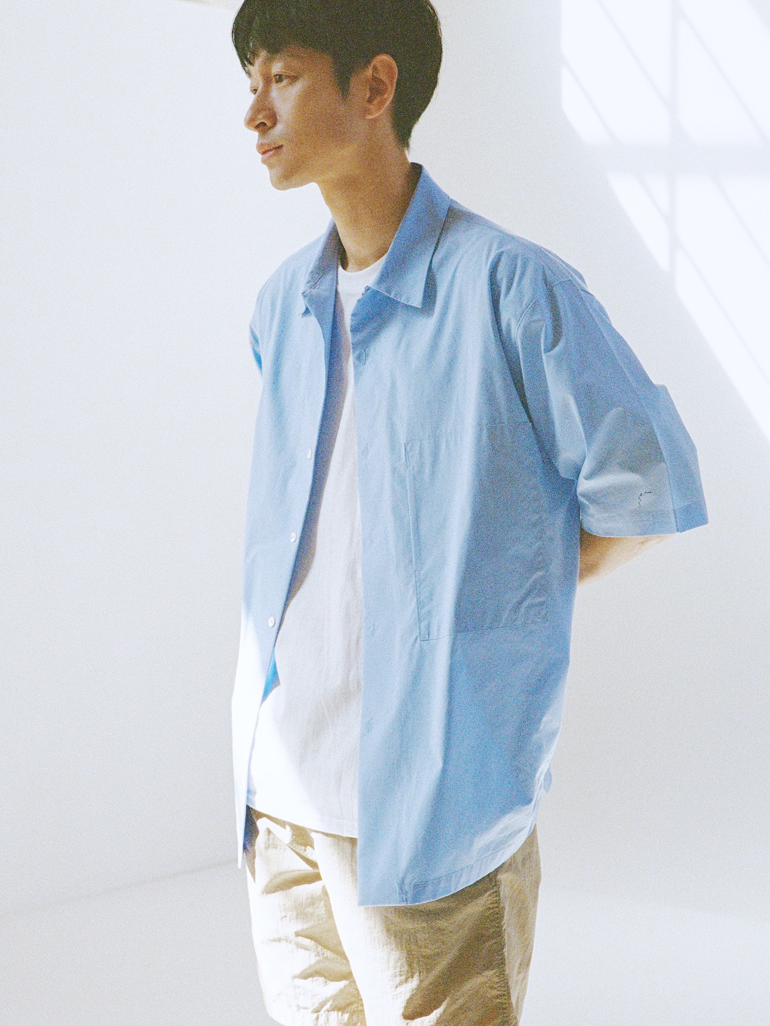 19SS BLUE OUT POCKET WIDE SHIRT