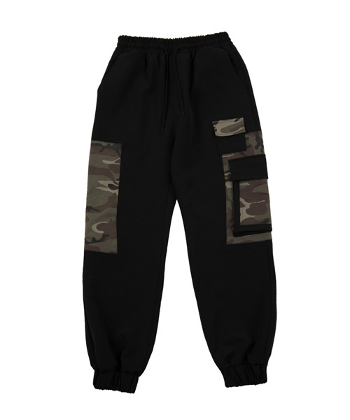 Wide camo jogger pants_BLACK