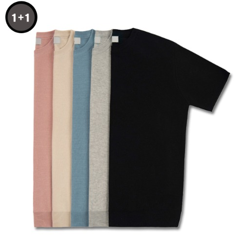 [컬러추가][1+1] COOL SOFT SHORT SLEEVE CREW NECK KNIT(6color)